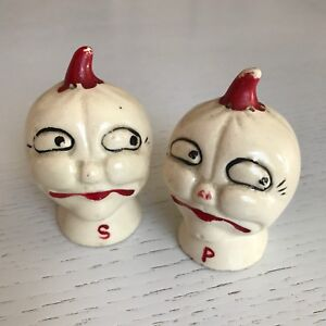 Vintage Anthropomorphic Pumpkin Salt and Pepper Shakers