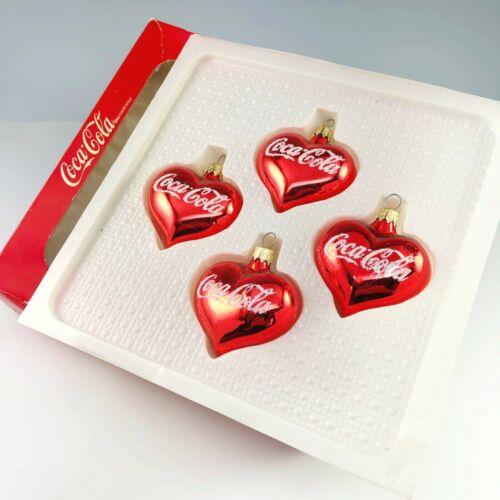 Kurt Adler Coca Cola Ornaments European Style Blown Glass Hearts Coke 1999 Vtg