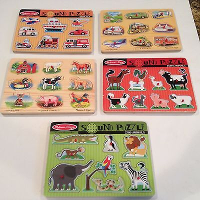 Melissa & Doug Sound Puzzle, Wooden Pegs With Sound Effects Lot of 5 Ages 2+