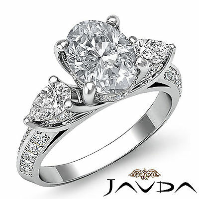 3 Stone Trellis Prong Setting Oval Cut Diamond Engagement Ring GIA I SI1 2.21Ct