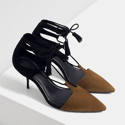 a7968305e43 Zara MID-HEEL LEATHER LACE-UP SHOES - BROWN  BLACK US 7.5