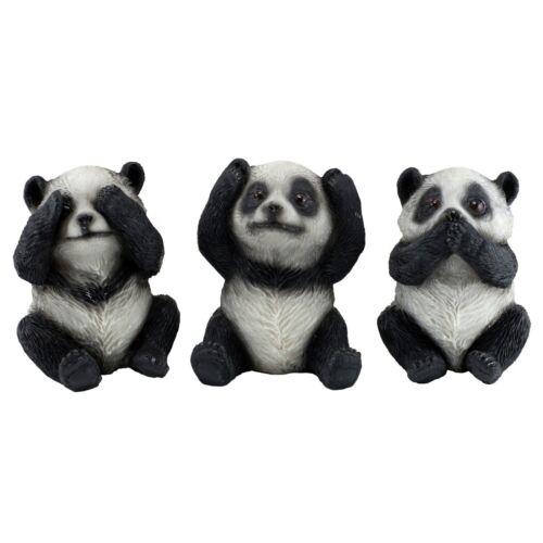 "See, Hear, Speak No Evil Panda Bear Figurines 3.25"" High 3 Resin Statues New"