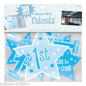 30 boy blue 1st birthday party number 1 stars cutout for Number 1 decorations