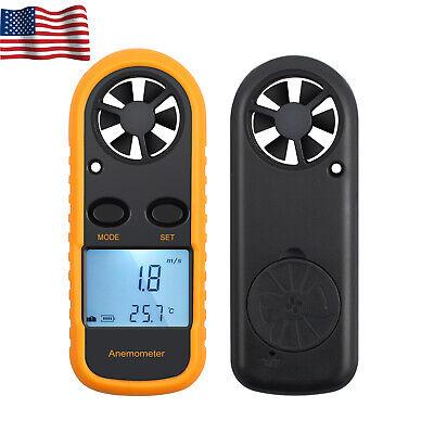 Lcd Digital Anemometer Air Wind Speed Temperature Gauge Mete Tester Thermometer
