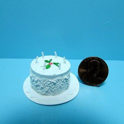 Dollhouse Miniature Happy Birthday Cake with Candles ~ White IM65214