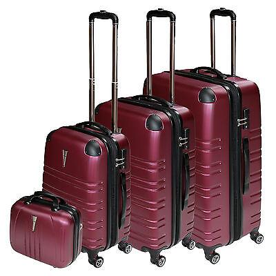 CASOS DE VIAJES JUEGO 4 tlg.TROLLEY MALETAS TSA CASTILLO SET ESTUCHE BELLEZA Red, usado segunda mano  Embacar hacia Spain