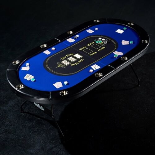 10 Player Poker Table Blackjack Texas Hold Em Pro Folding Casino Card Game Event