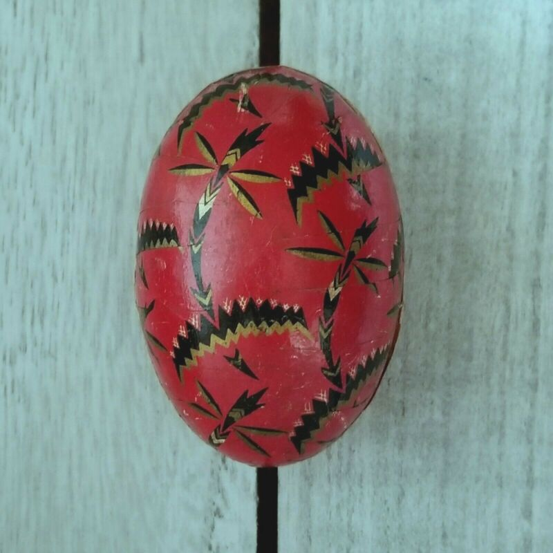 Antique GERMAN RED ART DECO ABSTRACT Paper Mache EASTER EGG Candy Container VTG