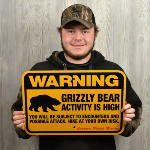 """GRIZZLY BEAR WARNING Sign, traps trapping hunting 12x18"""""""