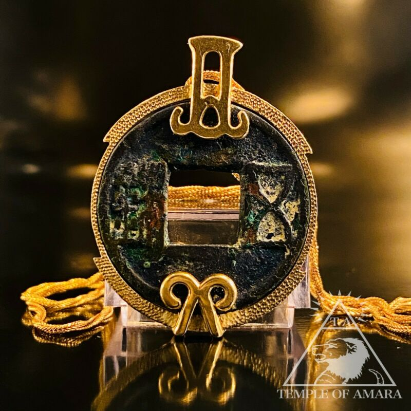10k Yellow Gold Ancient Wu Shu Coin Necklace Rope Chain