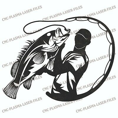 Fishing Dxf Sign Plasma Laser Waterjet Router Plotter Cut Vector Cnc Art File