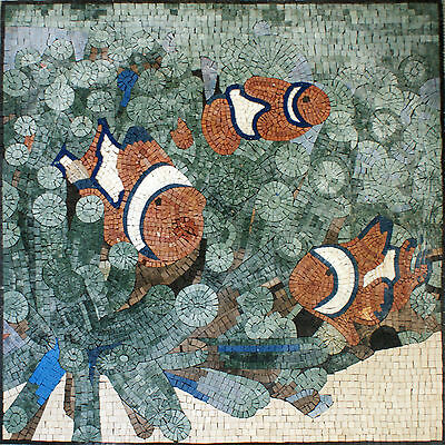 Art Tile Stone Floral House Decor Ocean World Red White Fish Marble Mosaic -