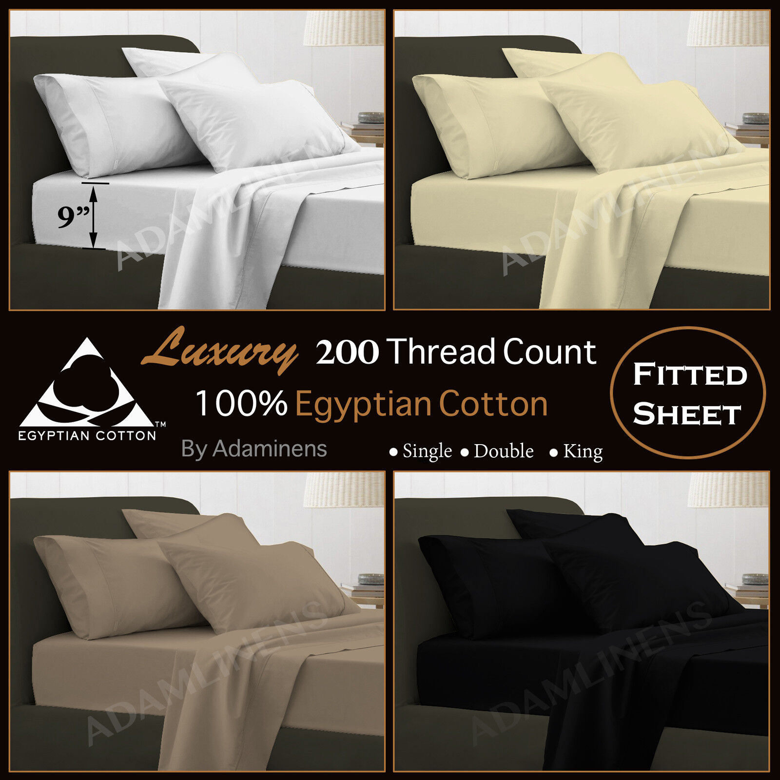 Luxury 100 Egyptian Cotton 200 Thread Count Fitted Sheets