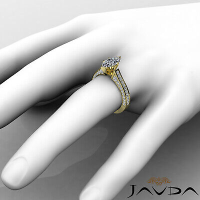 Micro Pave Set Marquise Diamond Engagement Ring GIA Certified I Color SI1 2 Ct 9