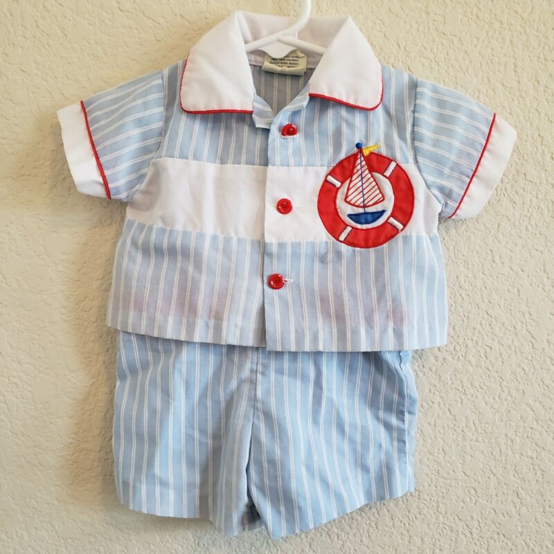 Vintage Cradle Togs Overalls & Collared Button Up Outfit Sailboat 0-6 Months