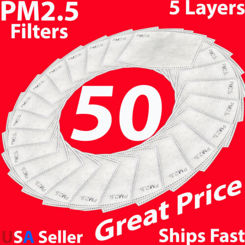 PM2.5 Mask Filter 50 Pack For Face Masks Adult Carbon Activated 5 Layers