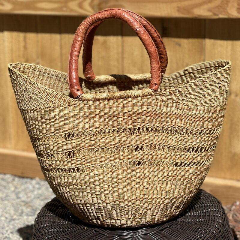NEW Handmade Ghana Africa Bolga Basket - Large Lace Weave Shopper Market Tote