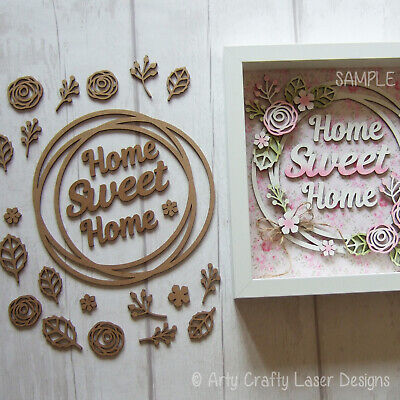MDF Craft Blank Home Sweet Home Shabby Chic Floral Wreath