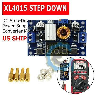 Xl4015 5a Dc Buck Step-down Adjustable Voltage Power Converter W Led Voltmeter