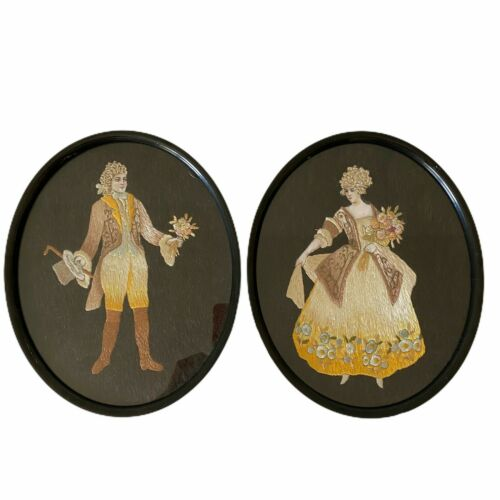 Antique Embroidered French Couple Hand Painted Faces Framed Pair