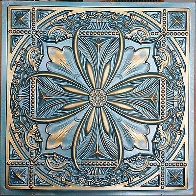 PL10 Faux tin cyan gold ceiling tiles public house decor wall panel10tile/lot
