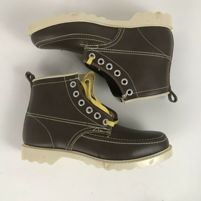 1970s Boys Boots / NOS Brown Lace Up Ankle Boots Workwear Unworn / Youth Boys 2