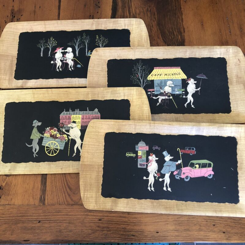 """4 Vintage 1952 KENTLEY Trays """"The Romance of Fifi And Pepe"""" MCM Poodles"""