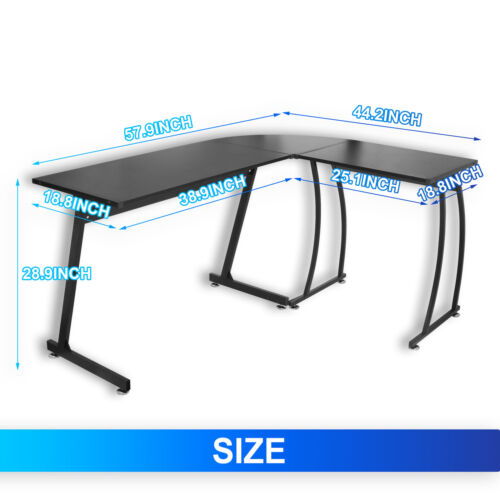 Modern L Shaped Corner Desk  Laptop Study Writing Table Work