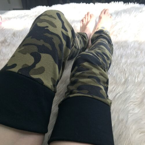 Green Camo Black Leg Warmers Thigh Highs Otk Knee Socks Long Sweatshirt Army USA