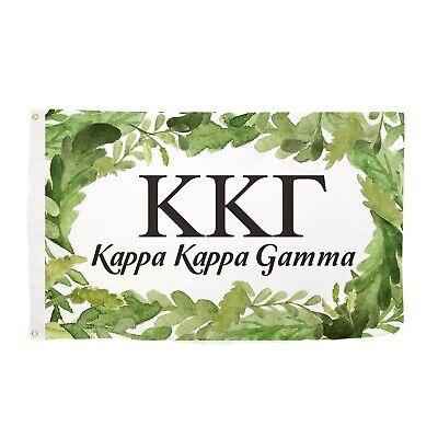 Kappa Kappa Gamma Watercolor Leaves Greenery Flag Banner 3 x 5