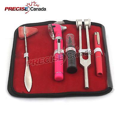 Led Fiber Optic Otoscope Tuning Fork C128 Taylor Hammer Diagnostic Ent Set Pink