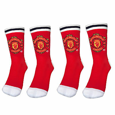 Manchester United FC Official Gift 2 Pair Pack Boys Dress Socks Red Size 4 - 6.5
