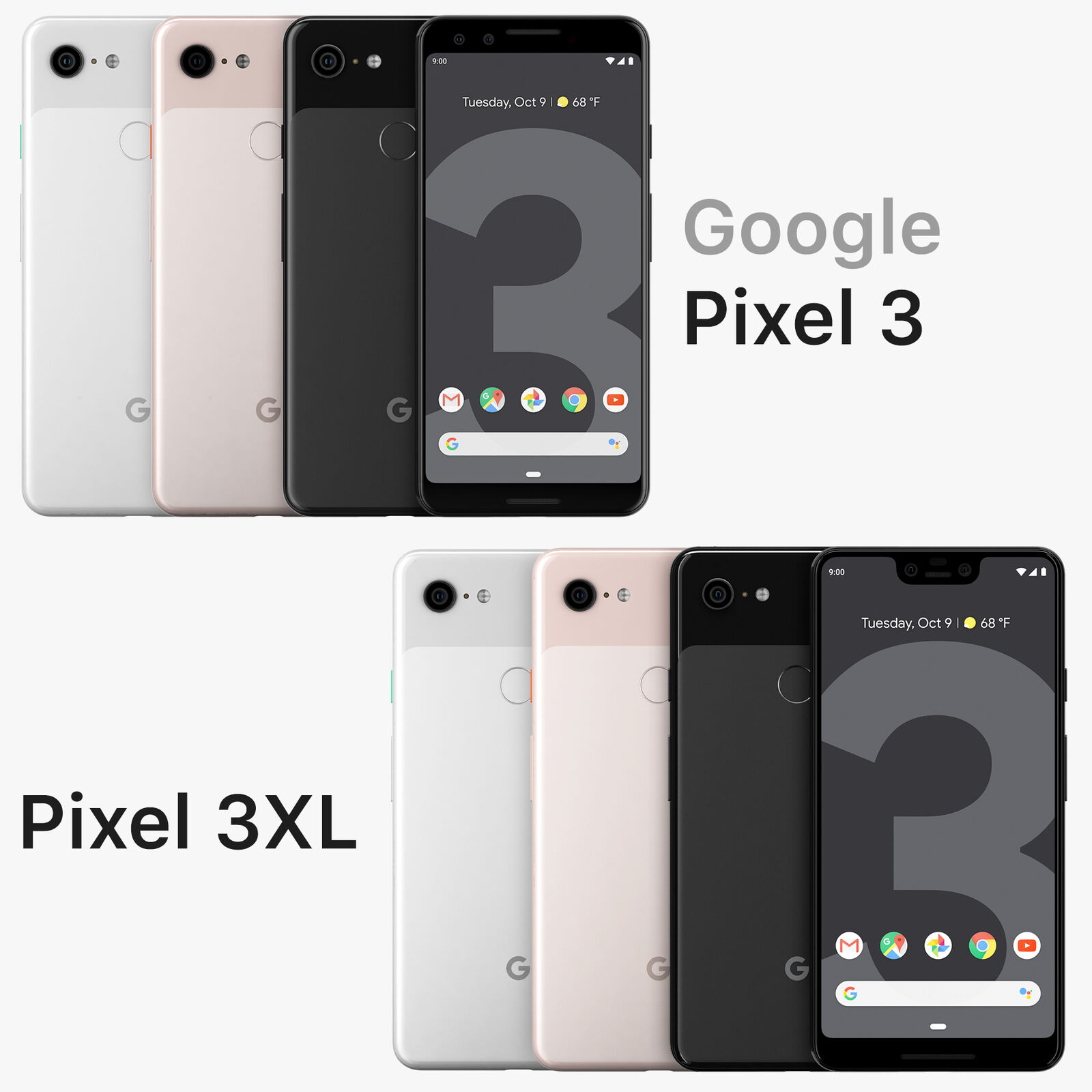 Fully Unlocked Google Pixel 3 / 3XL [ 64GB 128GB ] Black White Pink (CDMA+GSM)