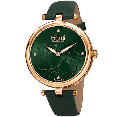 Women's Burgi BUR151GN Flower Engraved Diamond Dial Green Leather Strap Watch