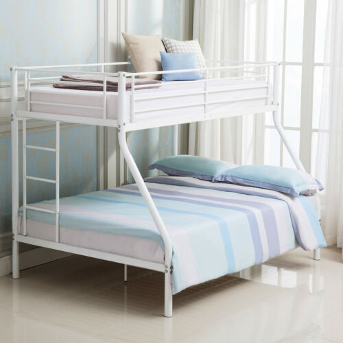 White Metal Twin over Full Bunk Beds Ladder Kids Teens Adult Dorm Bedroom