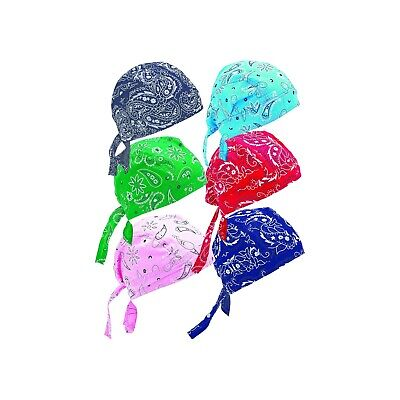 New 6pc Cotton Skull Caps Hat Doo Rag Biker Bandanna Head Wrap Assorted Paisley