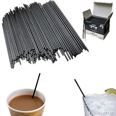 Sip Straw - Cocktail Sip Stirrers Coffee Straw Bar Black Plastic Drink Straws Box 5