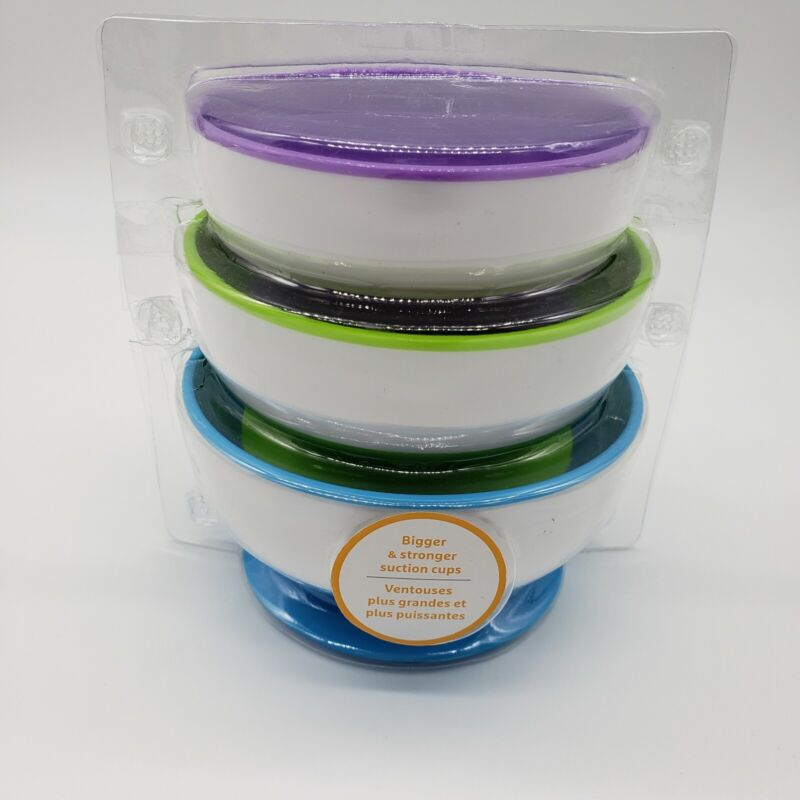 NEW!!   Munchkin Baby Toddler Feeding Snack Bowls Stay Put Suction Bowl, 3 Pack