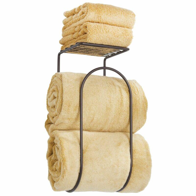 mDesign Wall Mount Towel Rack Holder Organizer with Storage Shelf - Bronze