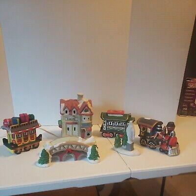 Vintage Christmas Village Train Station Building Ceramic Locomotive Railroad Set