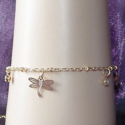 New Kids Gold Alloy Bracelet 2mm Rolo Link Chain Dangling Dragonflies & Crystals ()