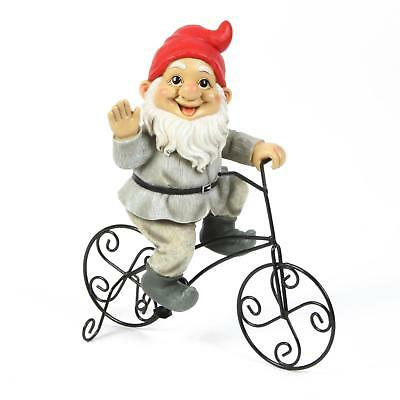 Cycling Traditional Garden Gnome Dwarf Bike Statue Ornament Figure 33.5cm  ()