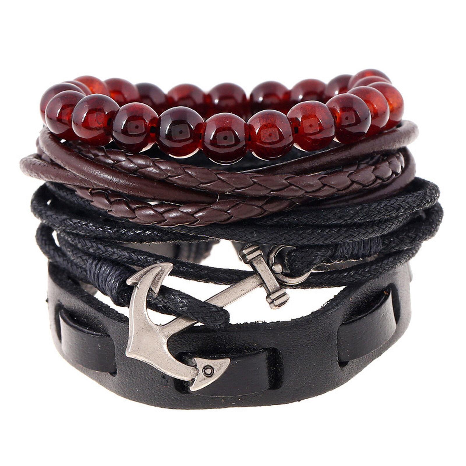 Men's Anchor and Tribal Wood Beads Leather Wristband Bracelet 4pcs Set Bracelets