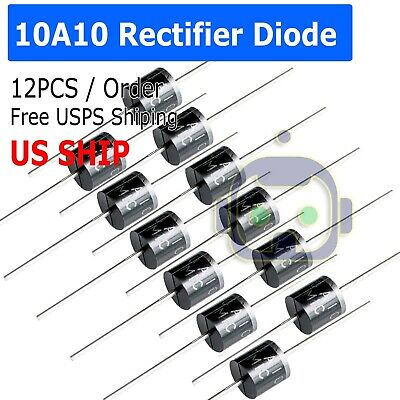 12pcs 10a10 10 Amp 1000v 10a 1kv Axial Rectifier Diode Diodes Us Stock M101