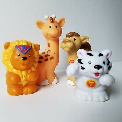 Lot of 4 Fisher-Price Little People Zoo Talkers Giraffe Lion Camel Tiger Animals