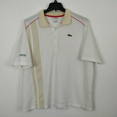 Lacoste Sport Polo Shirt Men Size XL White Red Trim Green Croc Short Sleeves