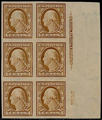 #346 XF OG NH PLATE # BLOCK OF 6 WITH IMPRINT BQ4956