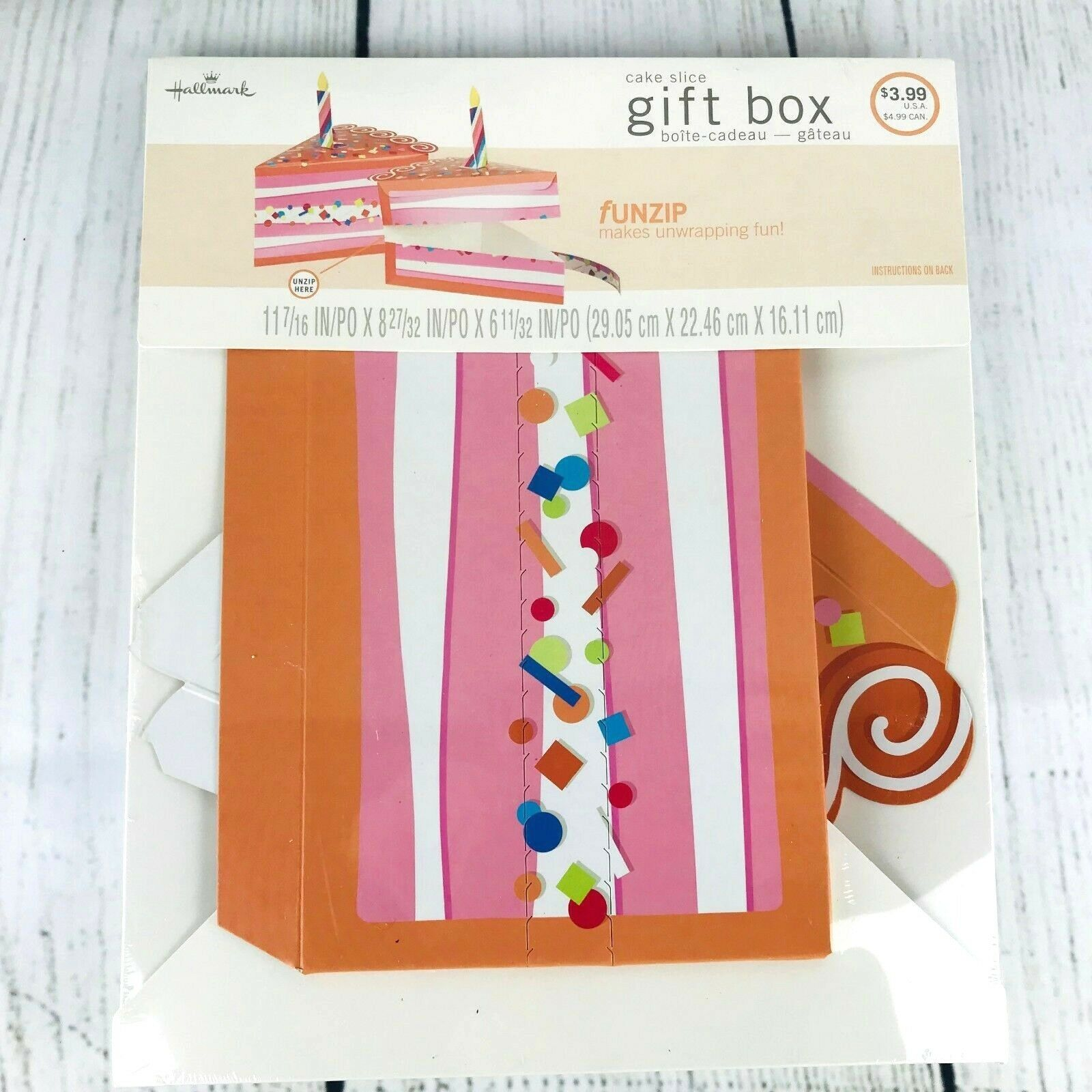 Hallmark Cake Slice Gift Box w/ Candle Birthday Present Pack