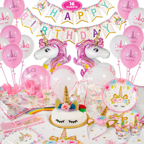 Unicorn Party Supplies (Serves 16) Complete Birthday Decorations Set