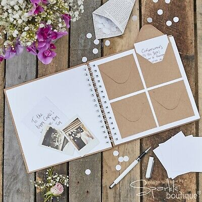 'BEST DAY EVER' KRAFT ENVELOPE GUEST BOOK-80 Envelopes/Note Cards-Rustic